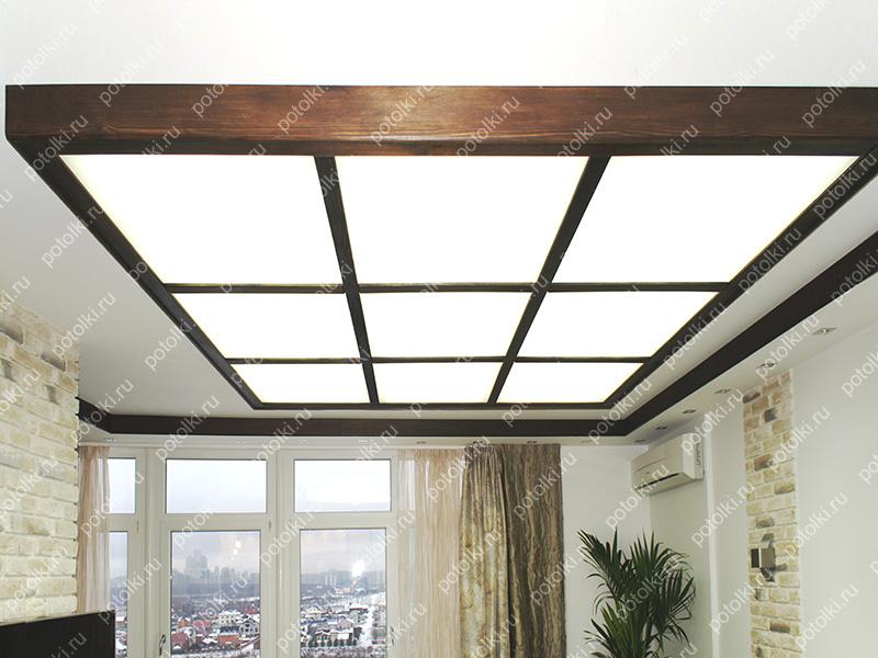 Стеклянный матовый потолок с подсветкой