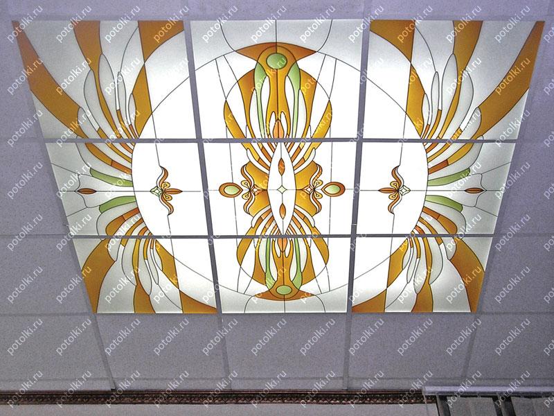 Стеклянный витражный потолок с подсветкой